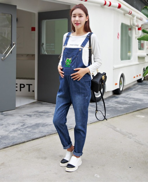 Women-s-Stretchy-Striped-Overall-font-b-Maternity-b-font-Denim-font-b-Jumpsuit-b-font